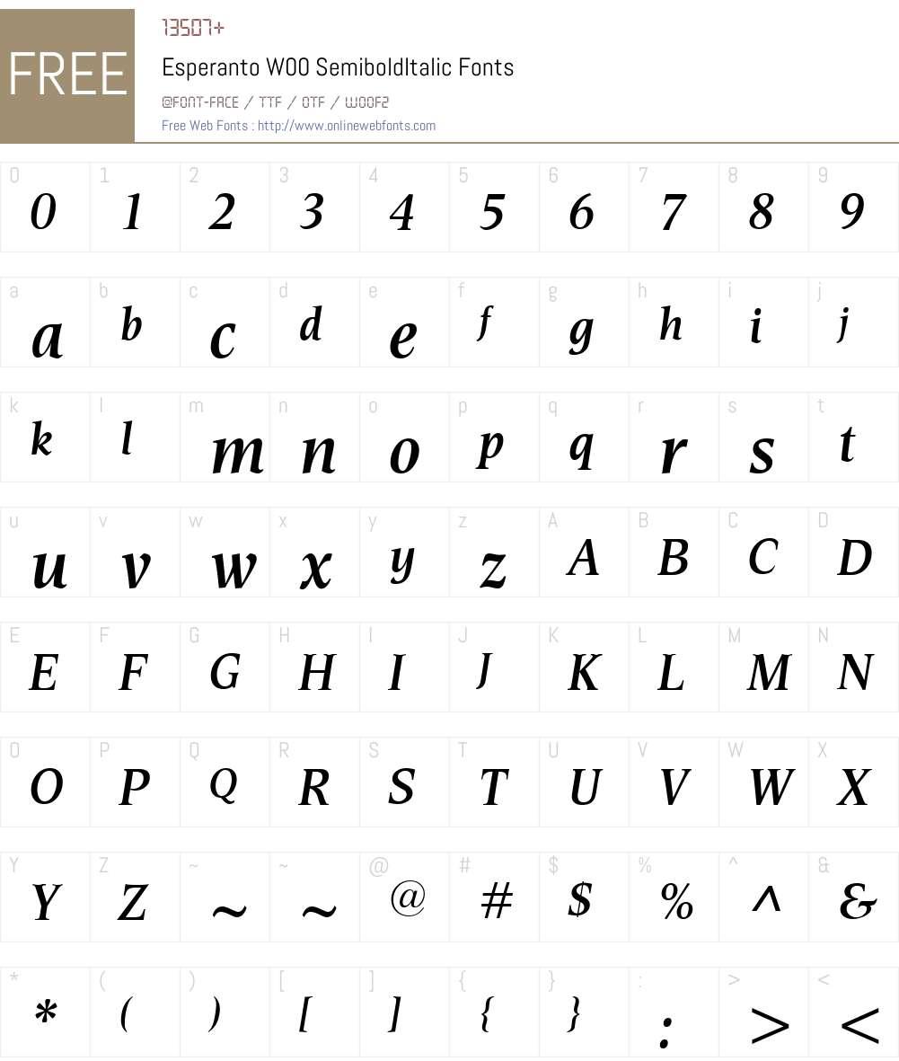 EsperantoW00-SemiboldItalic Font Screenshots