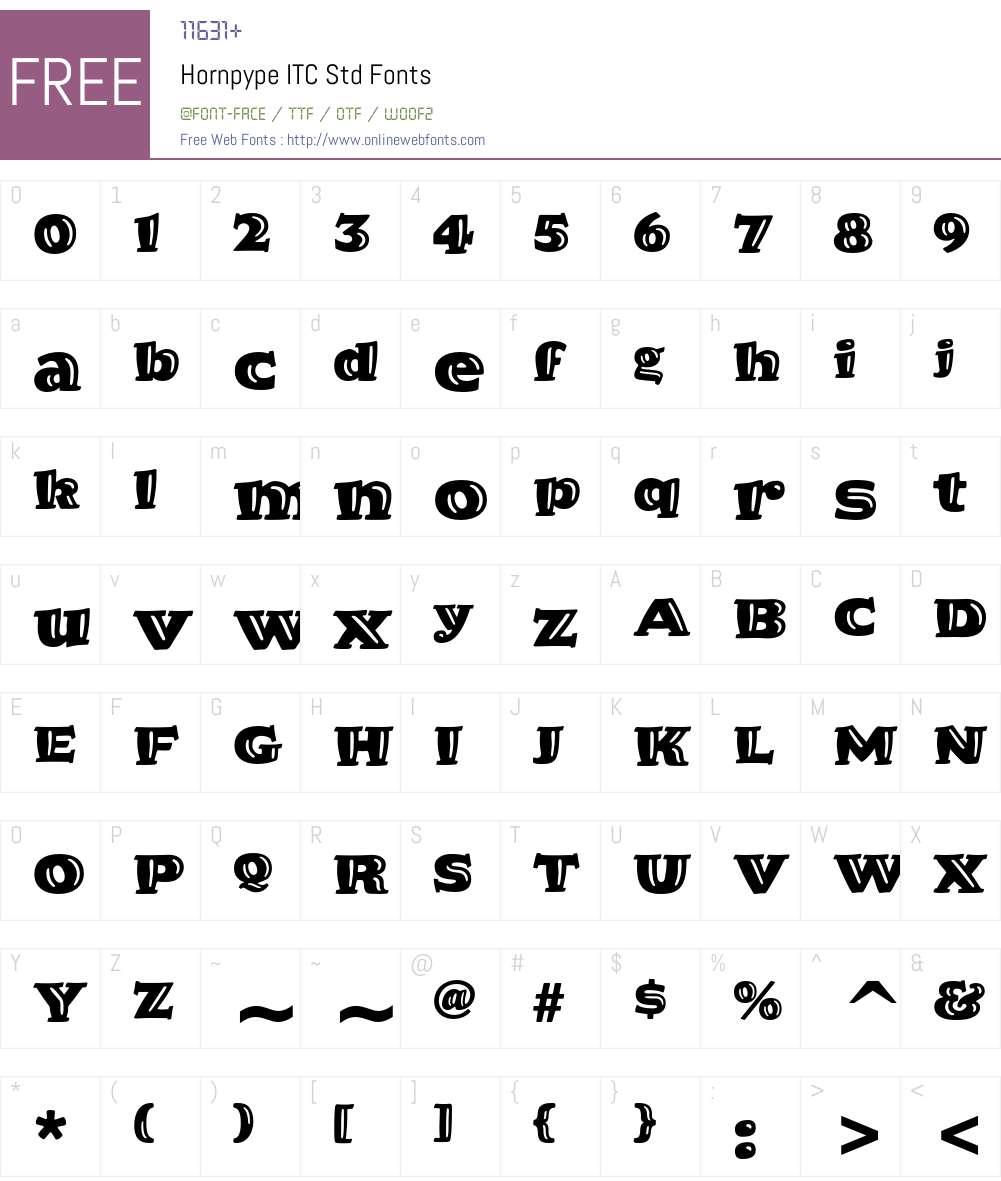 Hornpype ITC Std Font Screenshots