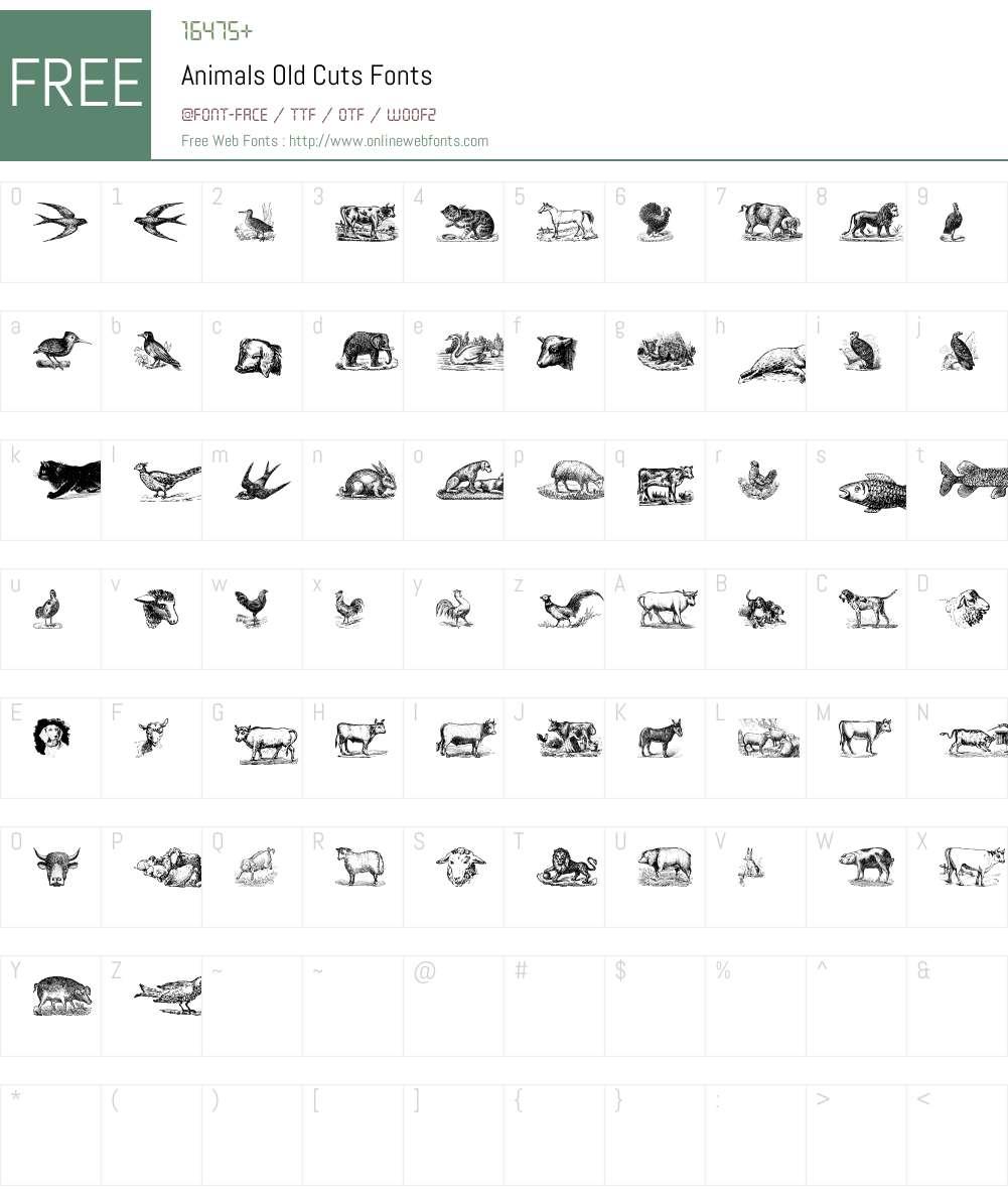Animals Old Cuts Font Screenshots
