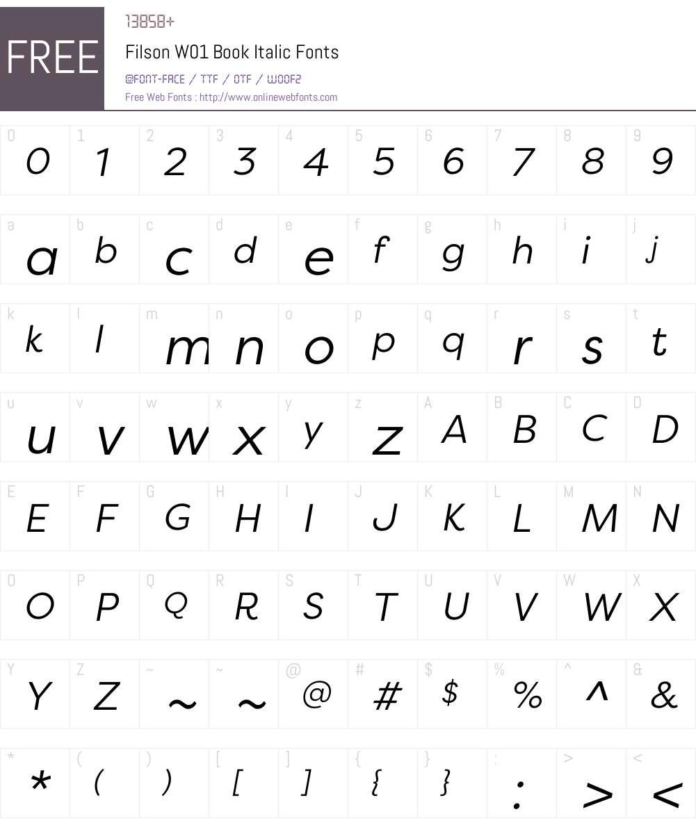 FilsonW01-BookItalic Font Screenshots