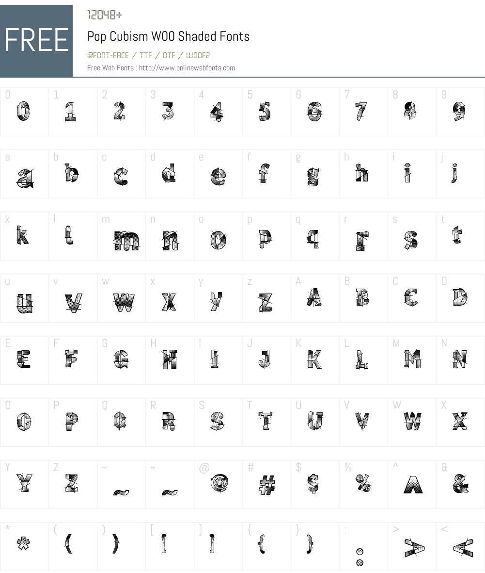 PopCubismW00-Shaded Font Screenshots