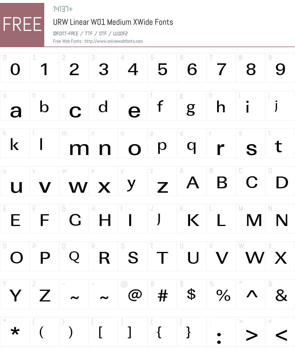 URWLinearW01-MediumXWide Font Screenshots