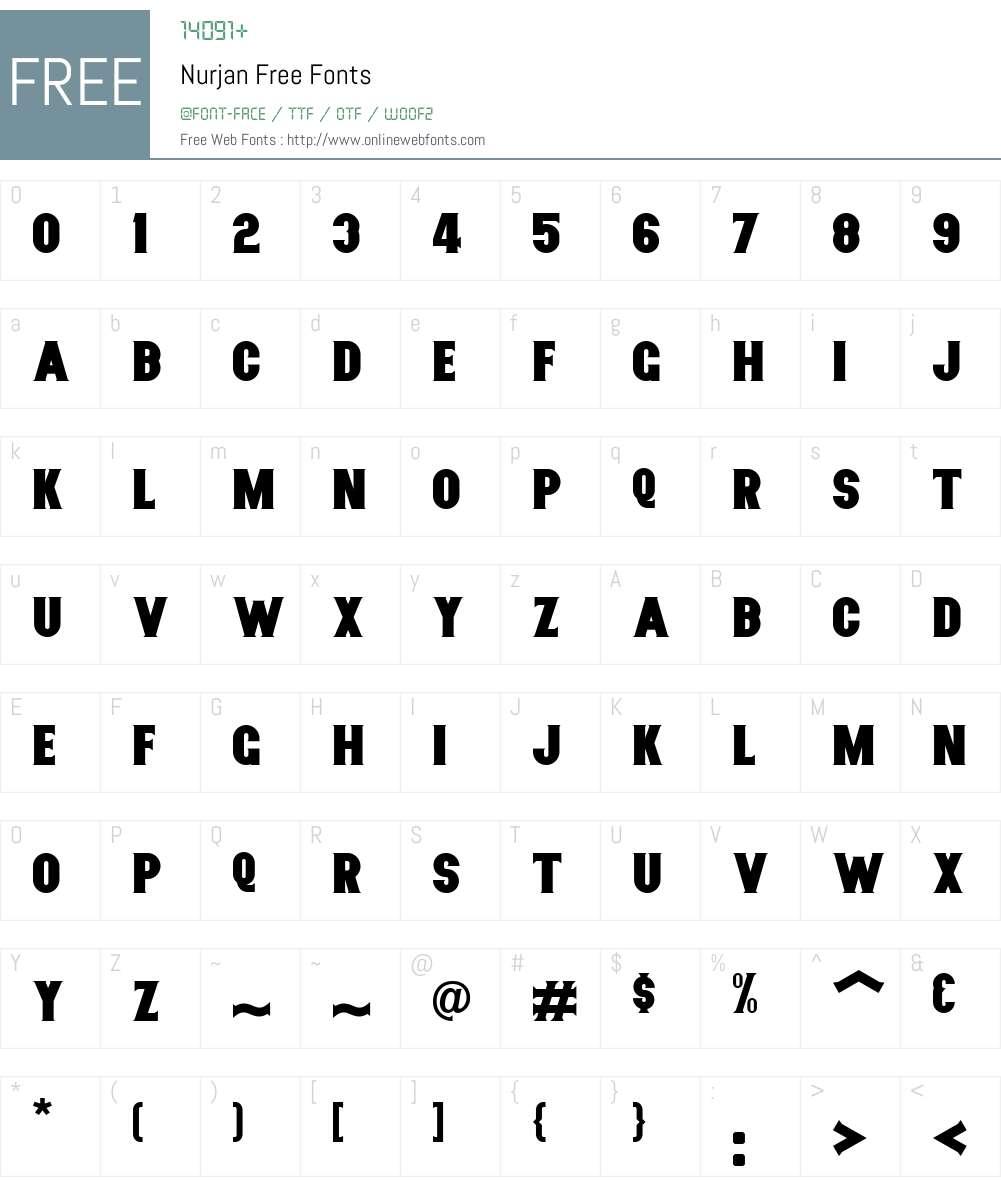 Nurjan Free Font Screenshots