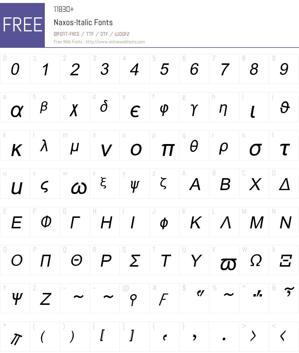 Naxos Font Screenshots