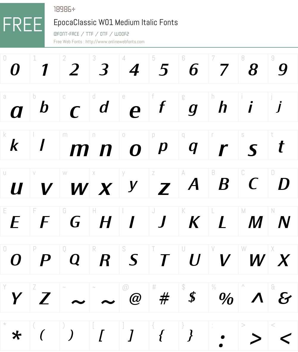 EpocaClassicW01-MediumIt Font Screenshots