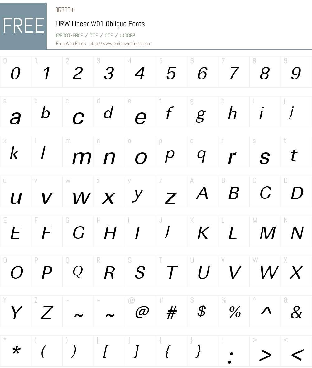 URWLinearW01-Oblique Font Screenshots