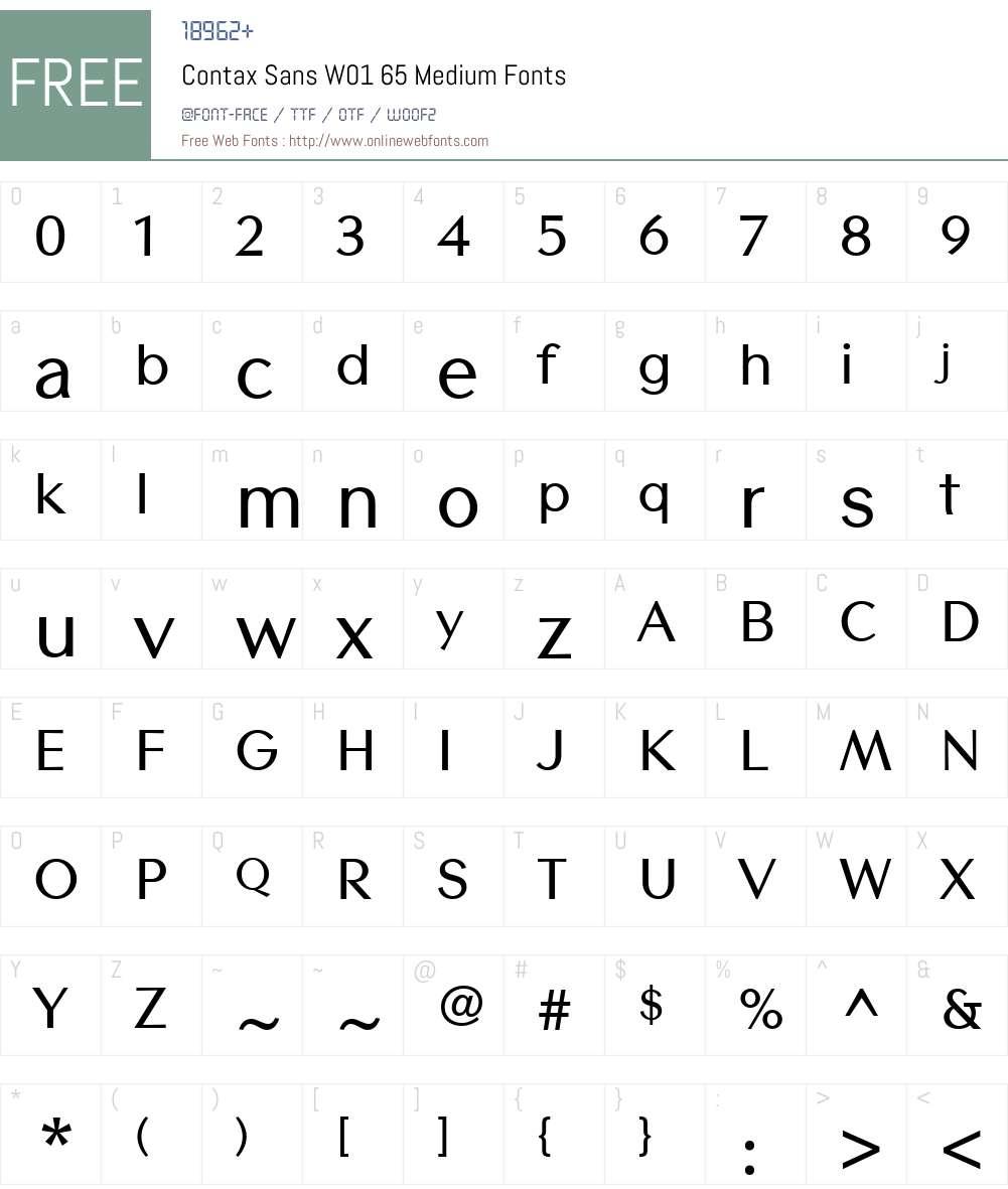 ContaxSansW01-65Medium Font Screenshots