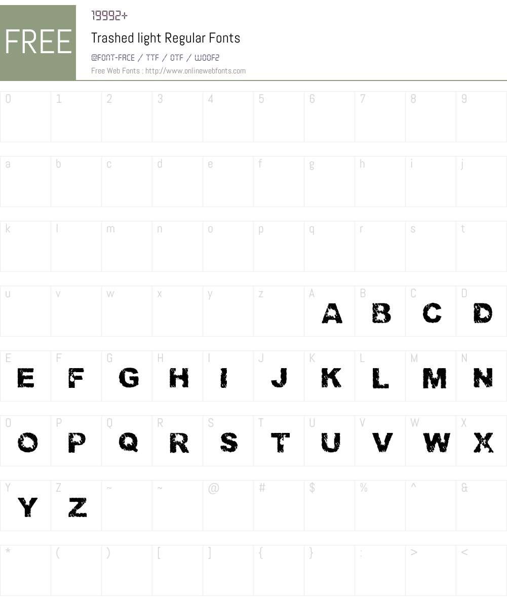 Trashed light Font Screenshots