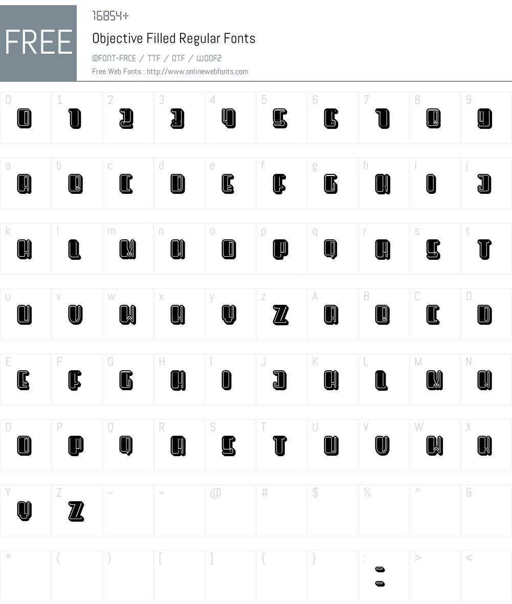 Objective Filled Font Screenshots