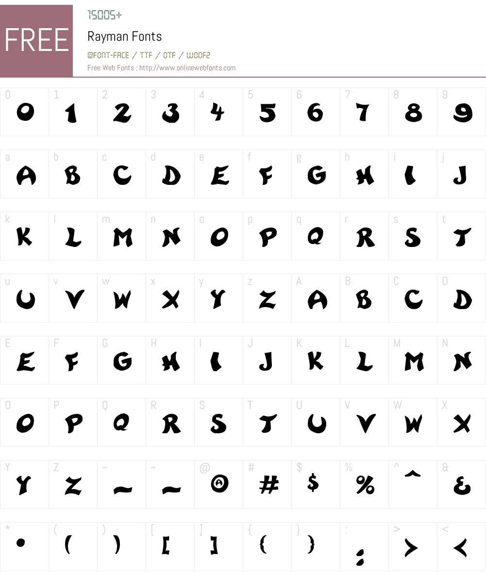 Rayman Font Screenshots