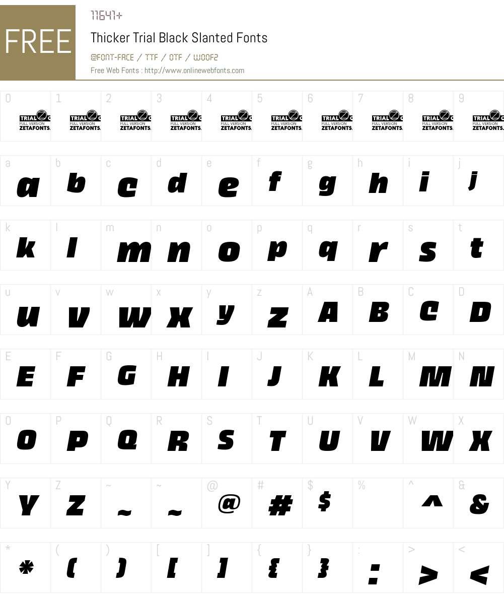 Thicker Trial Font Screenshots