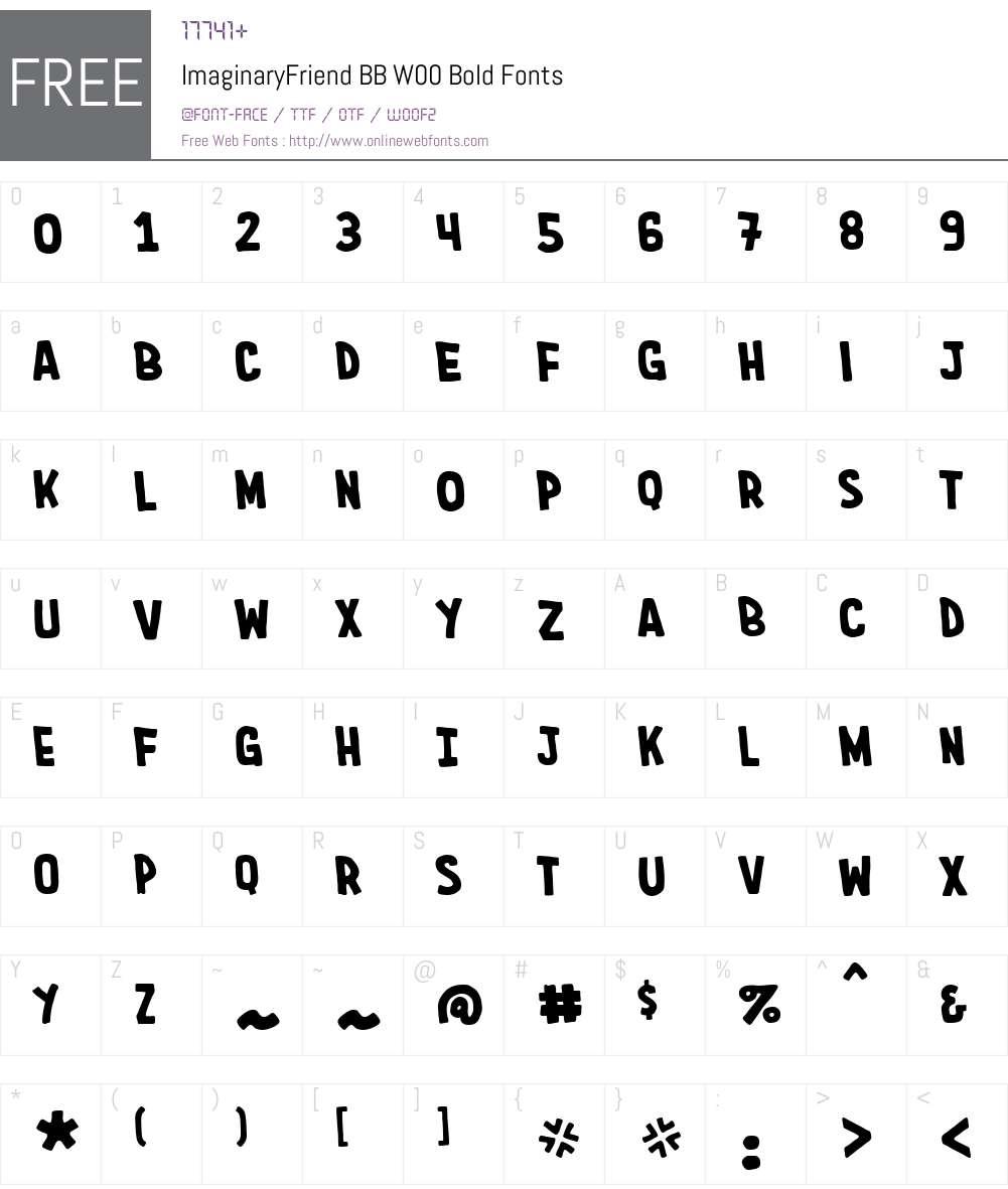 ImaginaryFriendBBW00-Bold Font Screenshots