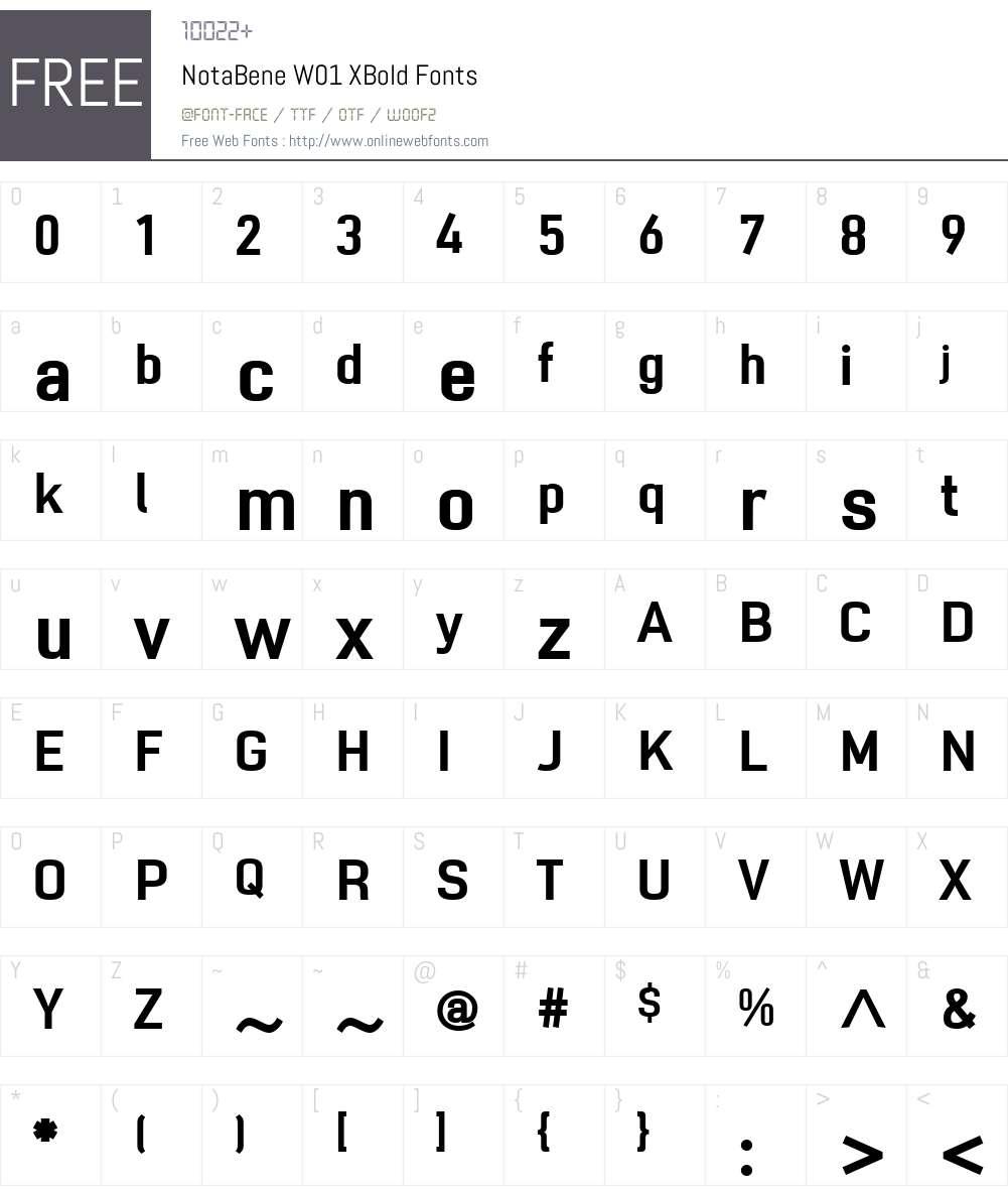 NotaBeneW01-XBold Font Screenshots