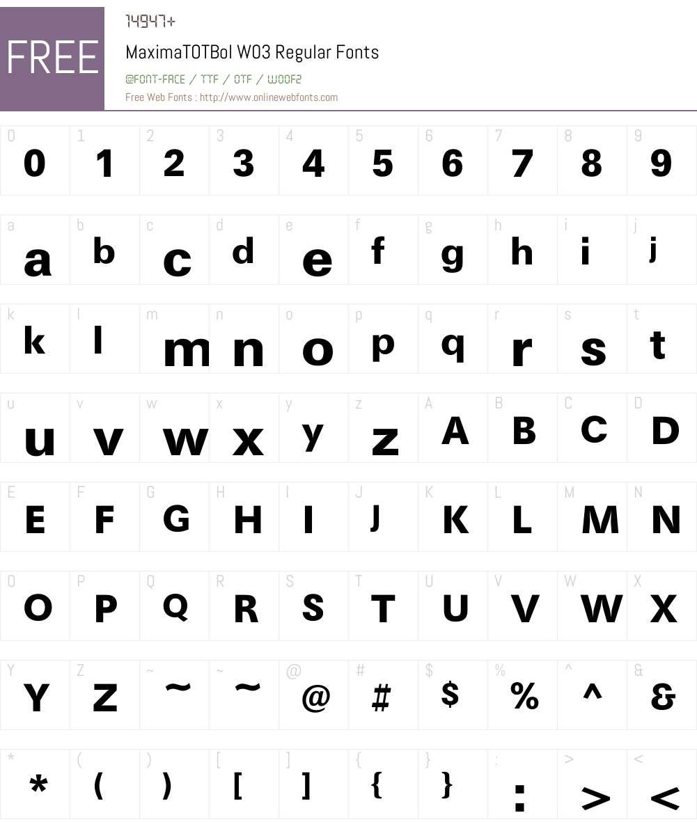 Maxima Font Screenshots