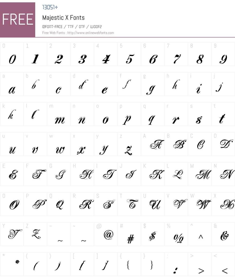 Majestic X Font Screenshots