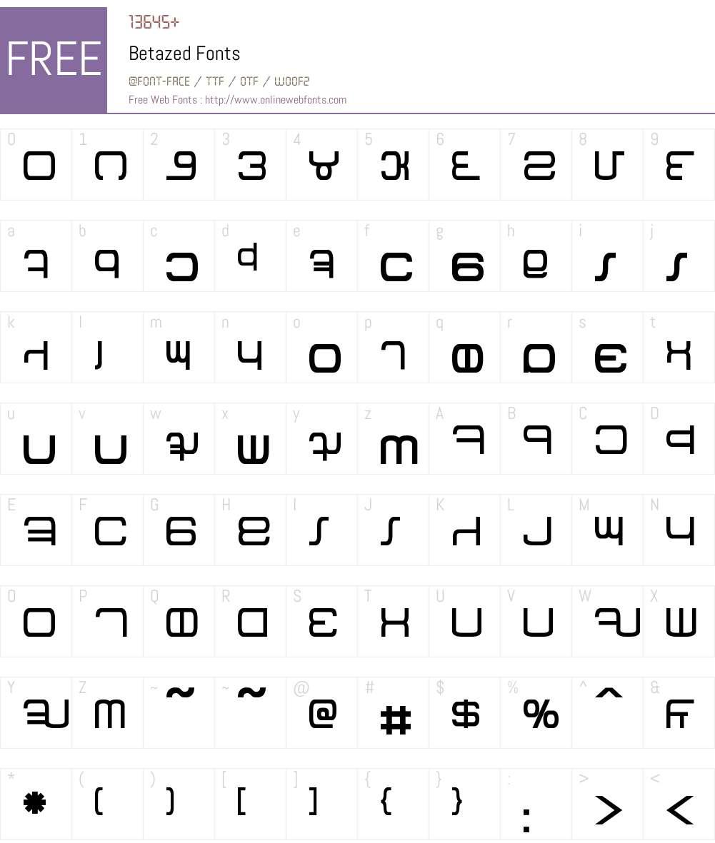 Betazed Font Screenshots