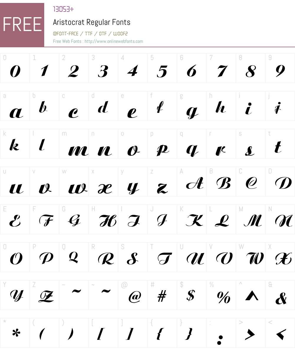 Aristocrat Font Screenshots