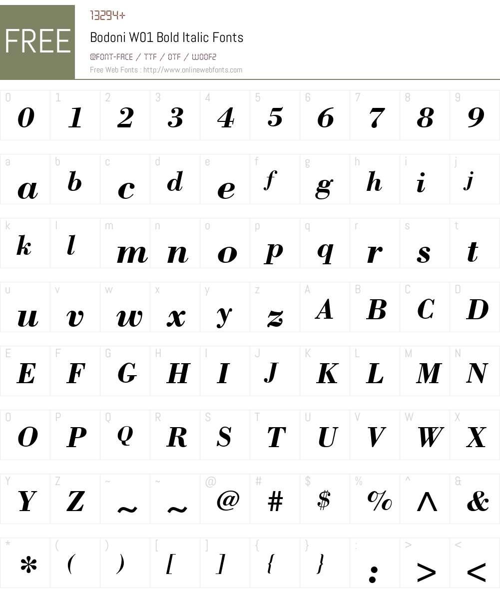BodoniW01-BoldItalic Font Screenshots