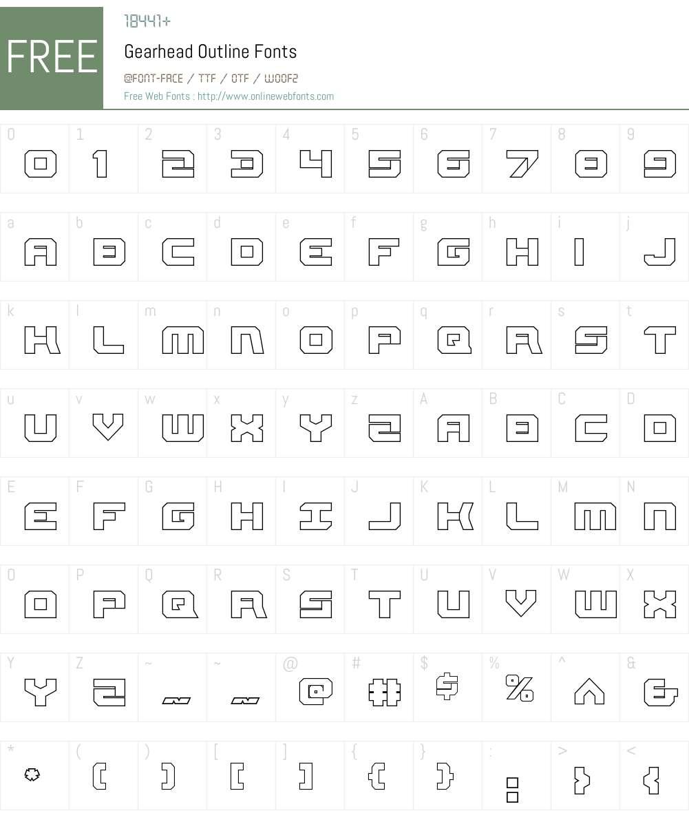Gearhead Outline Font Screenshots