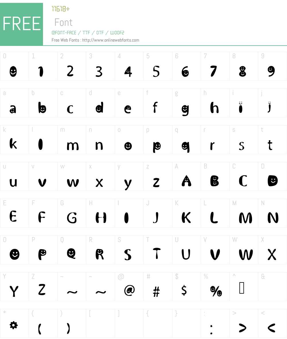 BubblySmiles Font Screenshots