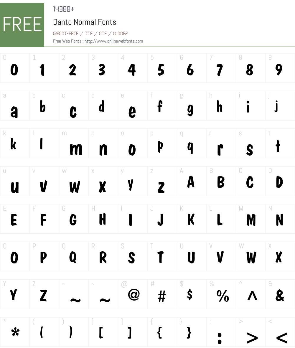 Danto Font Screenshots