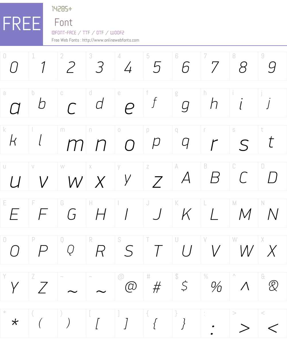 PFDinDisplayW01-ThinItalic Font Screenshots