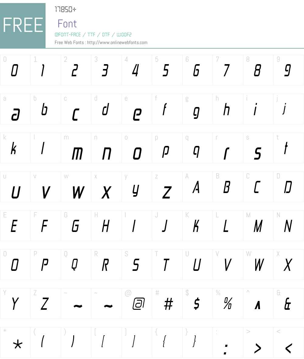 ZektonW00-CondensedItalic Font Screenshots