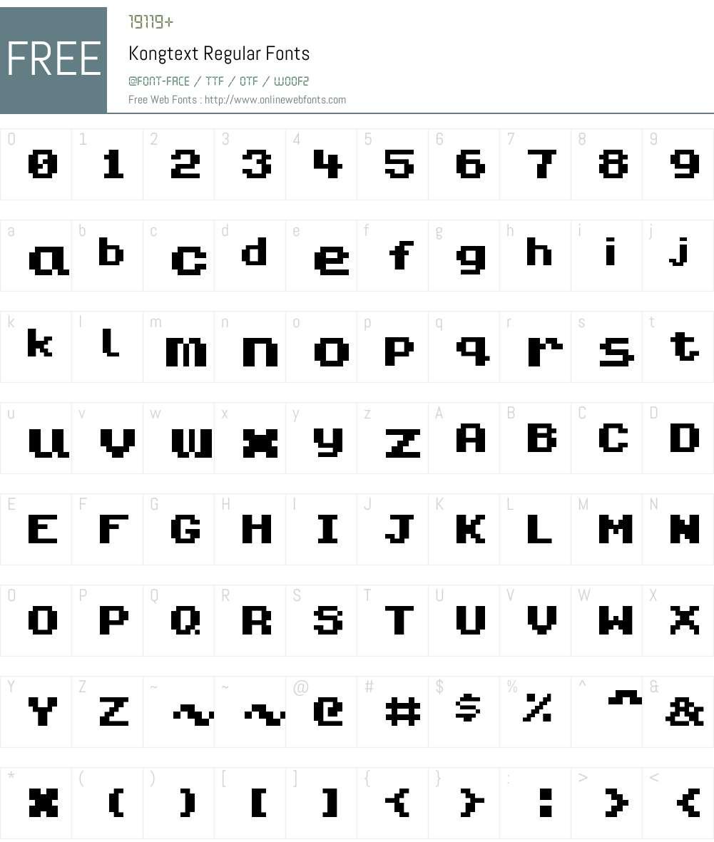 Kongtext Font Screenshots