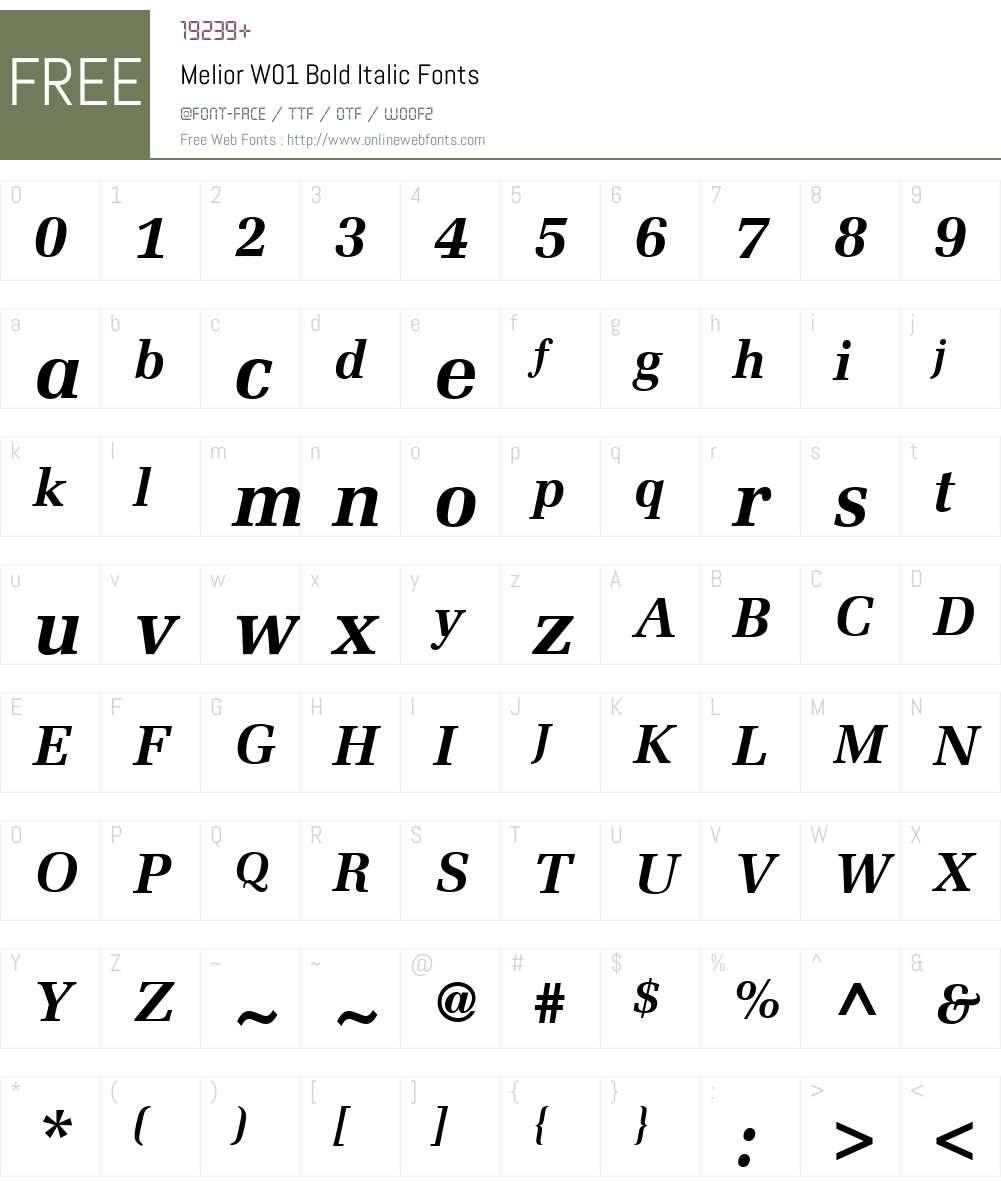 MeliorW01-BoldItalic Font Screenshots