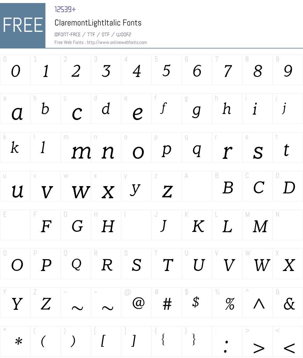ClaremontLightItalic Font Screenshots