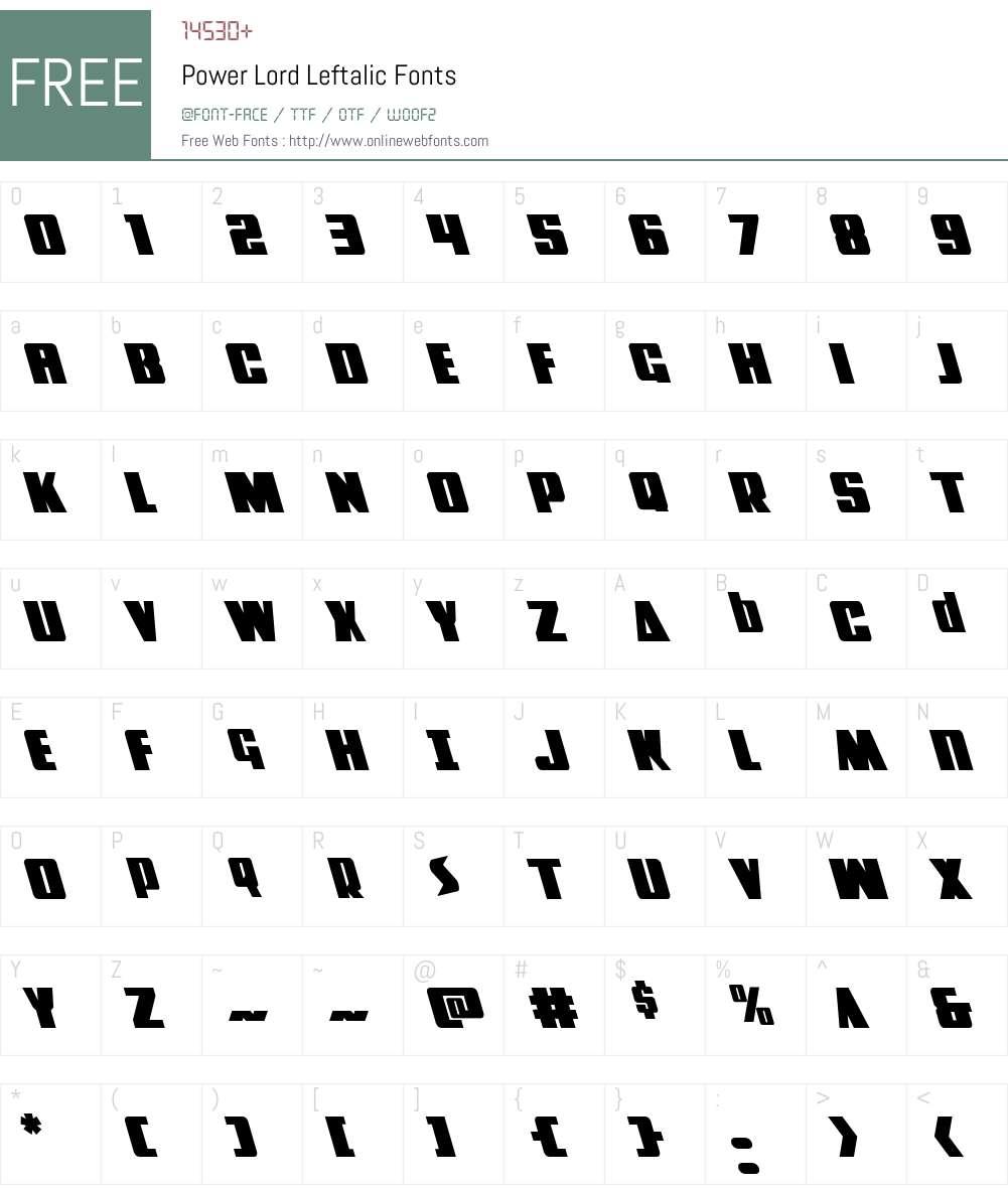 Power Lord Leftalic Font Screenshots