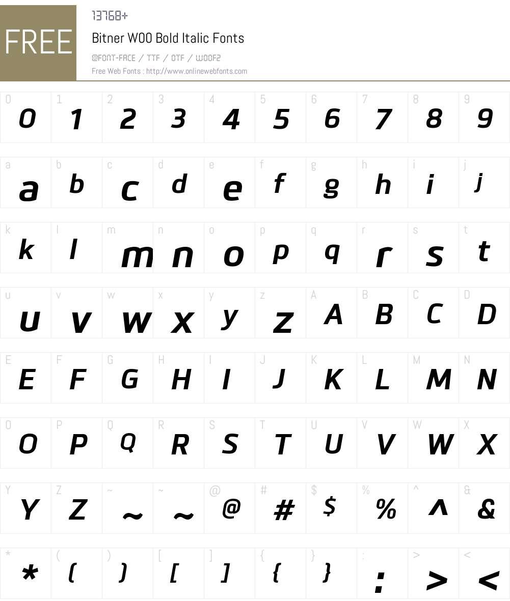 BitnerW00-BoldItalic Font Screenshots