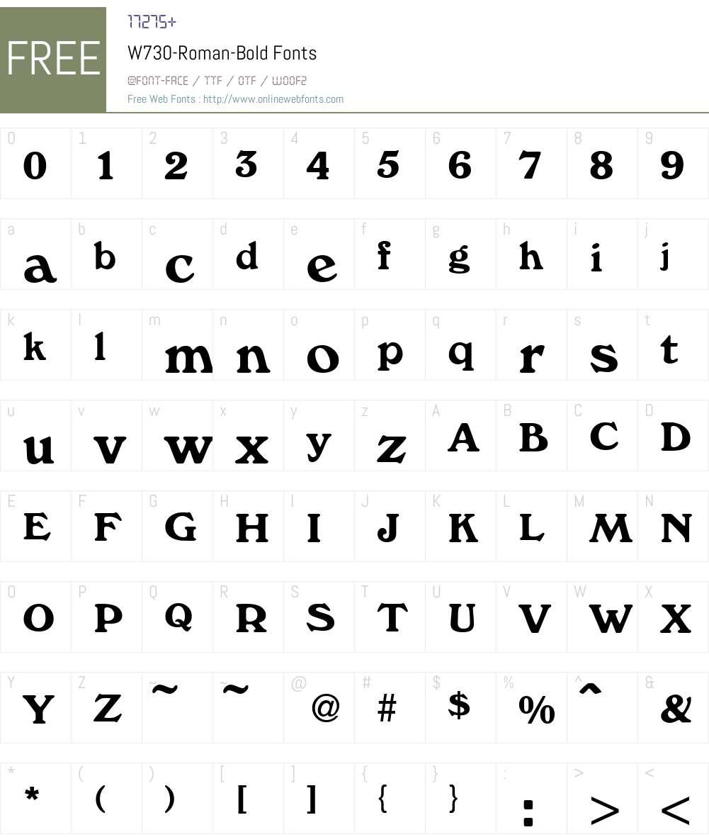 W730-Roman Font Screenshots