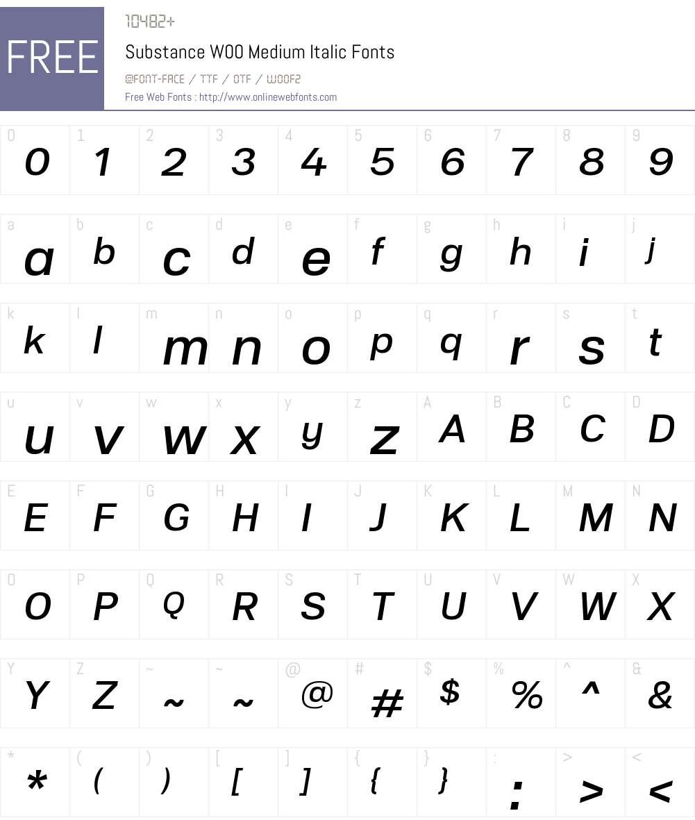 SubstanceW00-MediumItalic Font Screenshots