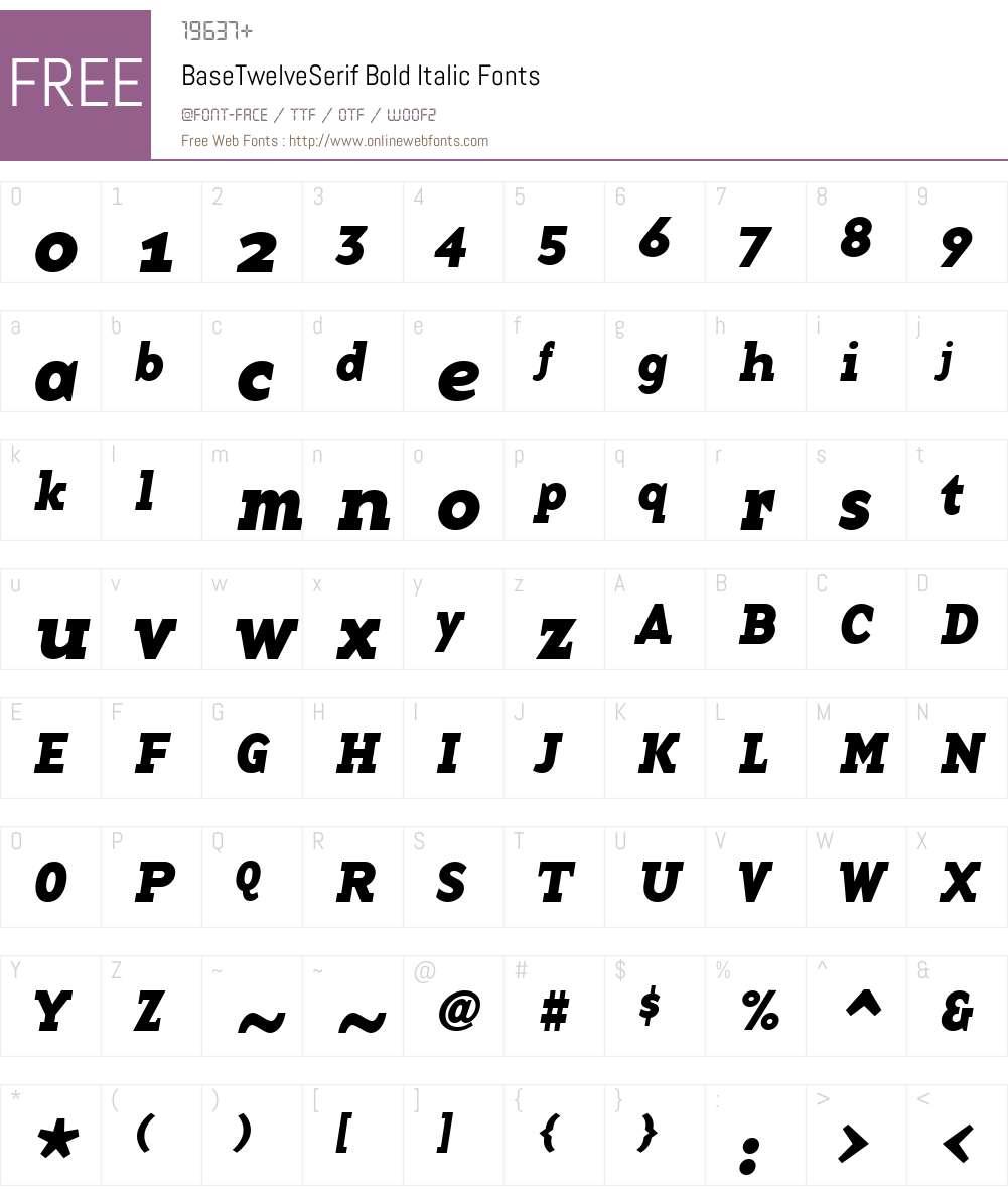 BaseTwelveSerif Font Screenshots