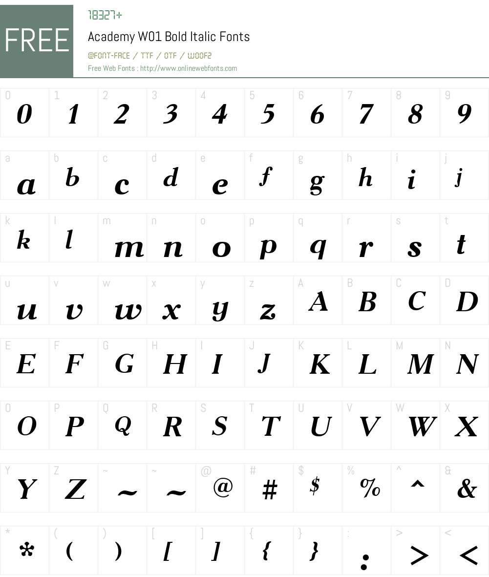 AcademyW01-BoldItalic Font Screenshots