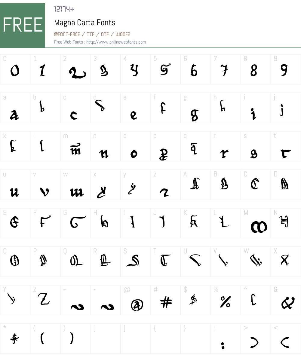 Magna Carta Font Screenshots