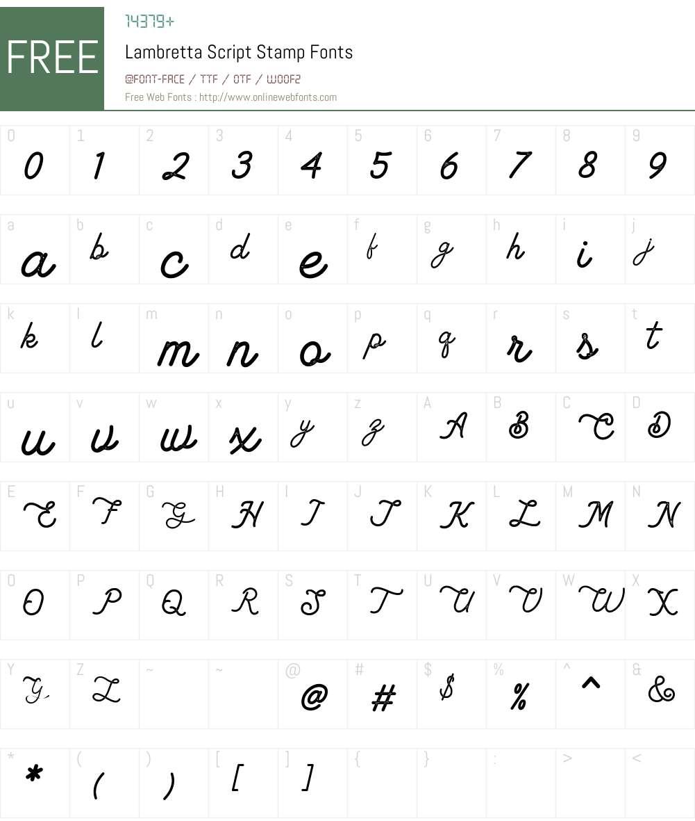 Lambretta Script Stamp Font Screenshots