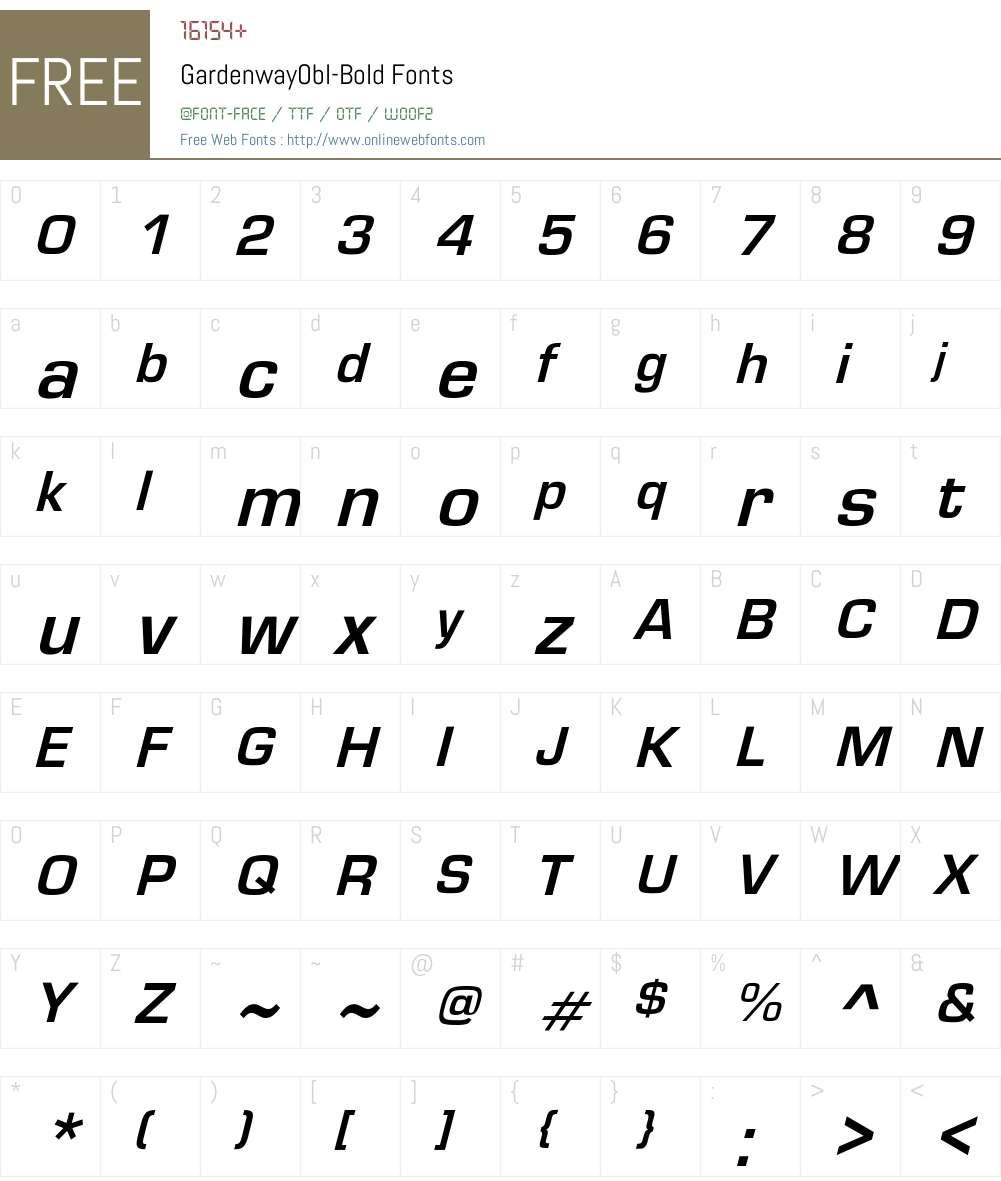 GardenwayObl-Bold Font Screenshots