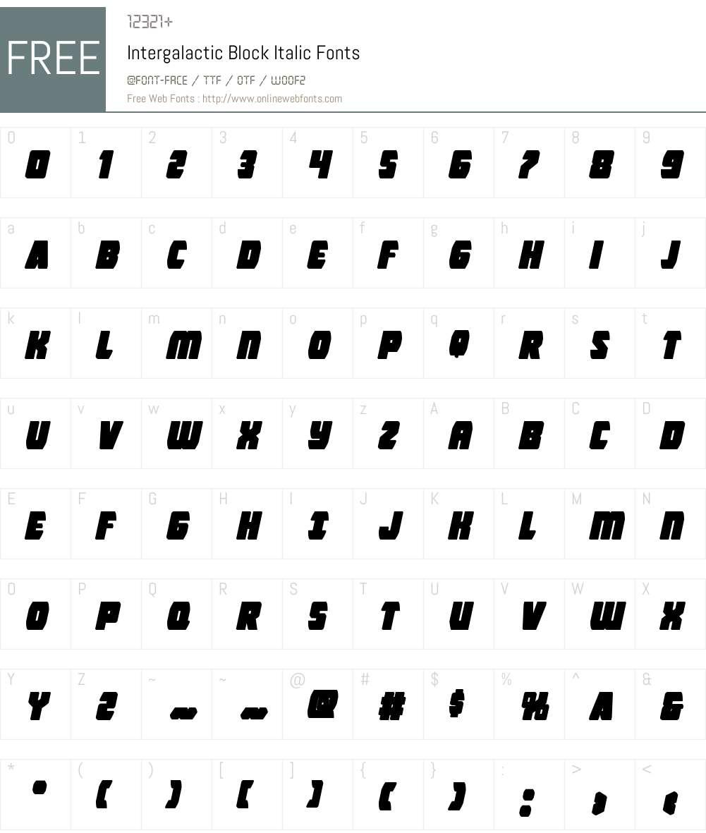Intergalactic Block Italic Font Screenshots