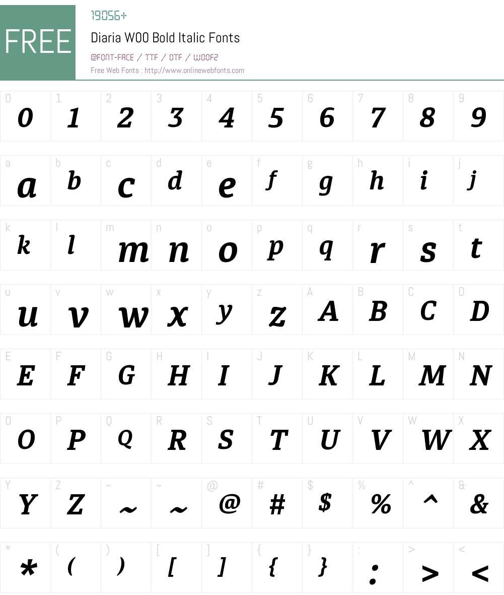 DiariaW00-BoldItalic Font Screenshots