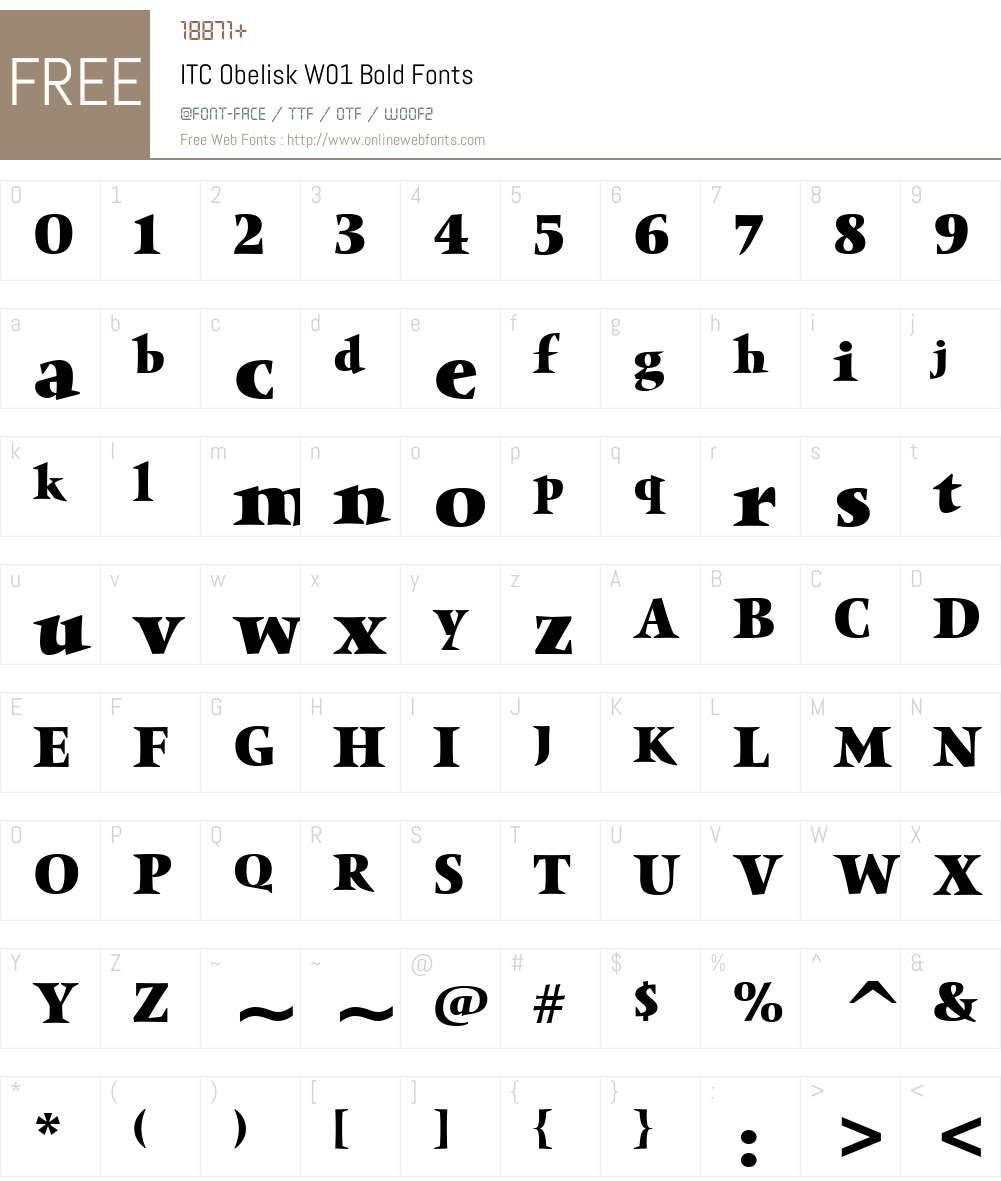 ITCObeliskW01-Bold Font Screenshots