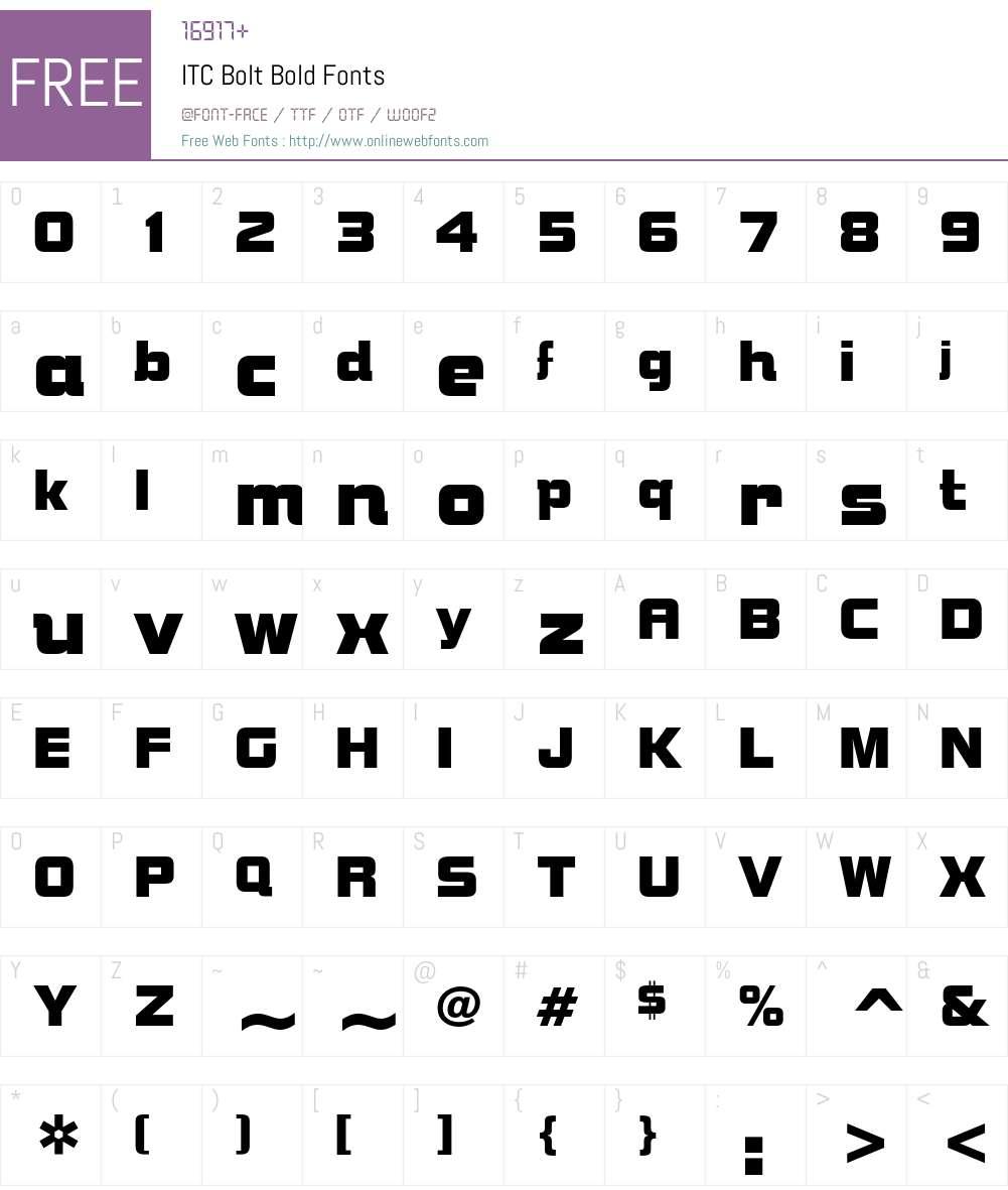 ITC Bolt Bold Font Screenshots