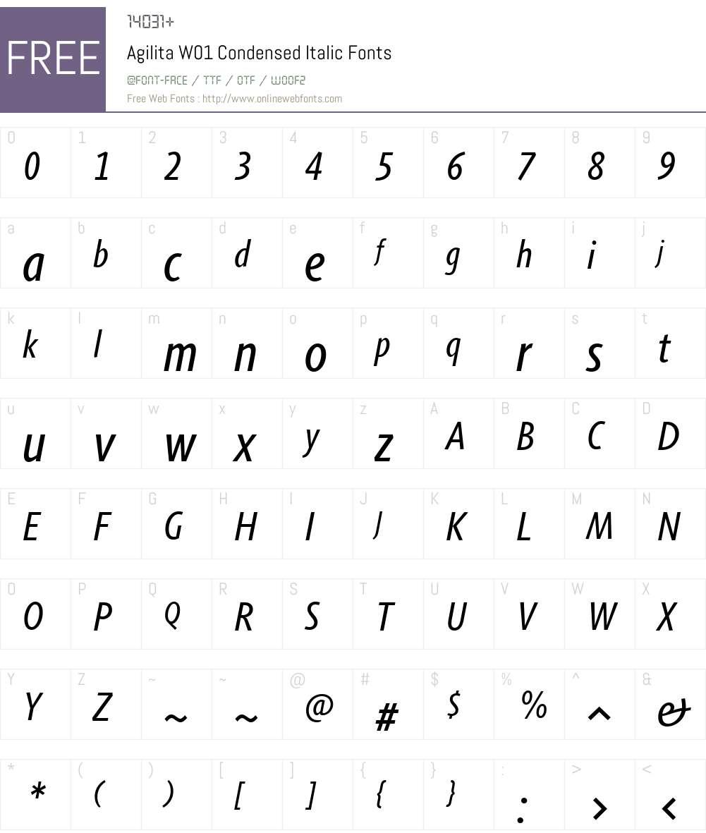 AgilitaW01-CondensedItalic Font Screenshots