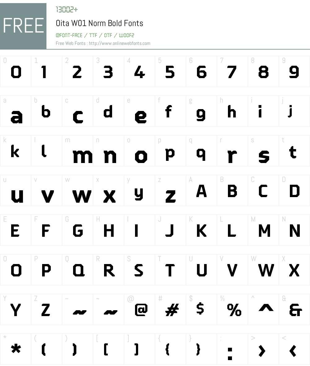 OitaW01-NormBold Font Screenshots