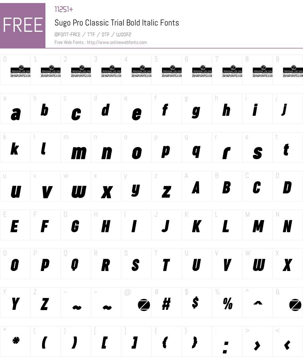 Sugo Pro Classic Trial Font Screenshots