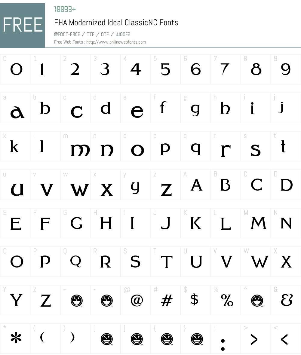 FHA Modernized Ideal ClassicNC Font Screenshots
