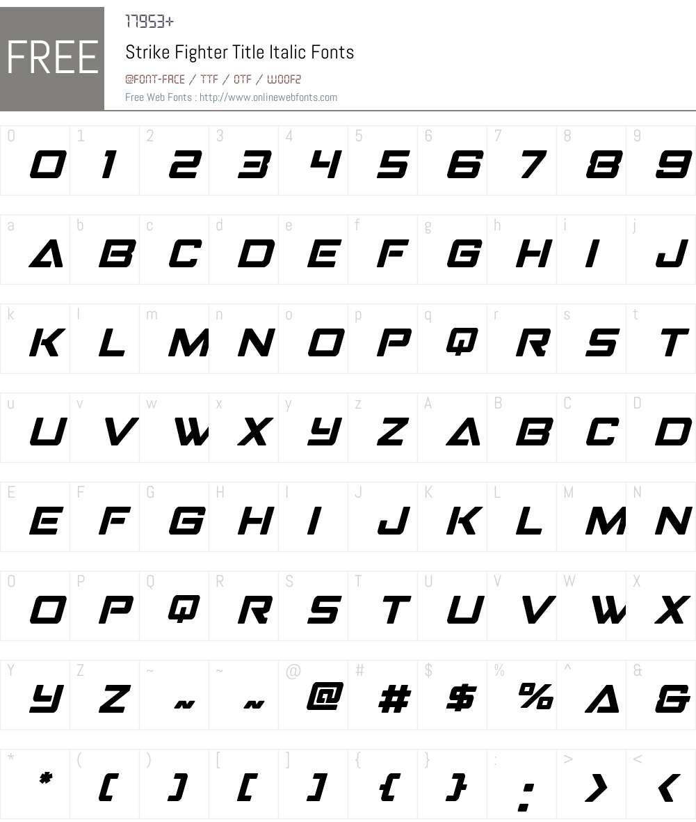 Strike Fighter Title Italic Font Screenshots