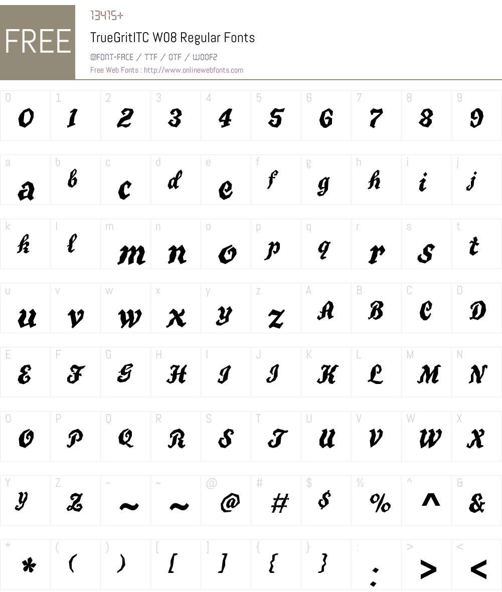 TrueGritITCW08-Regular Font Screenshots