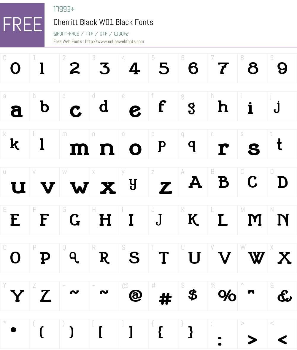 CherrittBlackW01-Black Font Screenshots